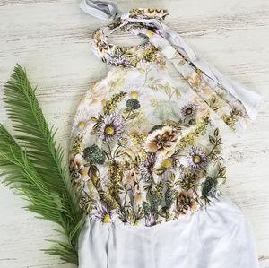 JAASE Lavender Floral Print Halter Jumpsuit